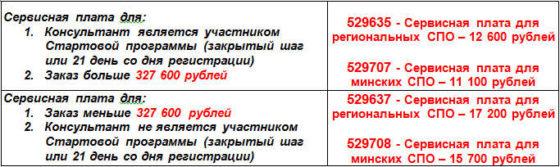 Сервисная плата Орифлейм 13 каталог 2014